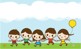 Happy cartoon kids running outdoors on a summer day Royalty Free Stock Image