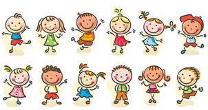 Happy cartoon kids. Happy cartoon sketchy kids jumping or dancing stock illustration