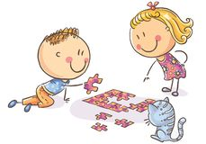Happy cartoon kids trying to assemble puzzle vector illustration