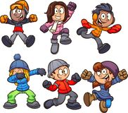 Happy cartoon kids in winter clothes. vector illustration