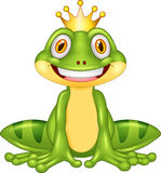 Happy cartoon king frog Royalty Free Stock Images