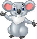Happy cartoon koala waving hand on white background stock illustration