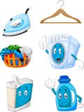 Happy cartoon laundry Stock Photos