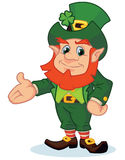 Happy cartoon leprechaun presenting Stock Image