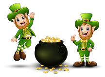 Happy cartoon leprechauns with pot of gold coins Royalty Free Stock Photography