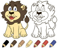 Happy cartoon lion. Vector coloring book illustration. Stock Photo