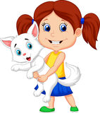 Happy cartoon little girl hugging her pet Royalty Free Stock Photography