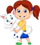 Happy cartoon little girl hugging her pet vector illustration