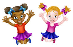 Happy Cartoon Little Girls Stock Images