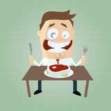 Happy cartoon man with big steak Stock Photography
