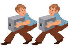 Happy cartoon man in brown pants walking with boxes Stock Photo