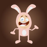 Happy cartoon man in bunny costume Stock Images