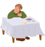 Happy cartoon man eating soup at the table Royalty Free Stock Photos