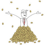 Happy cartoon man with pile of coins Royalty Free Stock Image