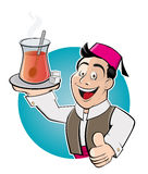 Happy cartoon man is serving turkish tea Stock Photography