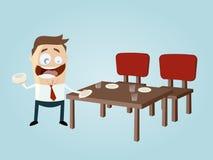 Happy cartoon man setting the table Stock Photo