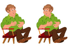 Happy cartoon man sitting in armchair with hands on stomach Royalty Free Stock Image