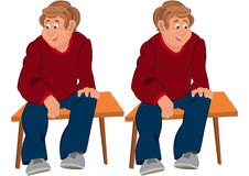 Happy cartoon man sitting on brown bench Stock Photography