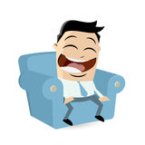 Happy cartoon man sitting on sofa. Happy asian cartoon man sitting on sofa Stock Image