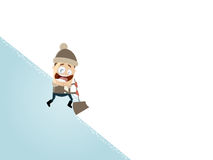 Happy cartoon man with a snow shovel Royalty Free Stock Images