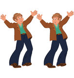 Happy cartoon man standing in blue pants happily holding hands u Stock Photos