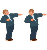 Happy cartoon man standing in blue suit and pointing with index Royalty Free Stock Photos