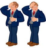 Happy cartoon man standing in blue suit touching forehead Stock Photo