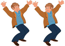 Happy cartoon man standing in brown jacket holding hands up Royalty Free Stock Photos