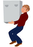 Happy cartoon man standing in brown shoes holding heavy box Royalty Free Stock Images