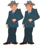 Happy cartoon man standing in gray suite and hat Stock Photos