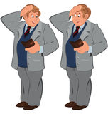 Happy cartoon man standing in gray suite with wallet Royalty Free Stock Image
