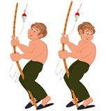 Happy cartoon man standing in green pants topless with fishing r Stock Photography