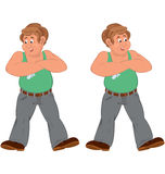 Happy cartoon man standing in green sleeveless top injured Stock Images