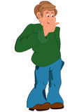 Happy cartoon man standing in green sweater with hand on chin Royalty Free Stock Photo