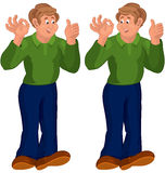 Happy cartoon man standing in green top thumbs up Royalty Free Stock Photography