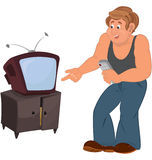 Happy cartoon man standing near TV Stock Photo