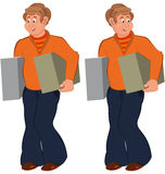 Happy cartoon man standing in orange sweater with boxes Stock Photos