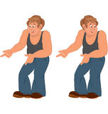 Happy cartoon man standing in sleeveless top and pointing Stock Image