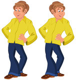Happy cartoon man standing in yellow shirt Royalty Free Stock Image