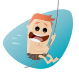 Happy cartoon man swinging on liana Royalty Free Stock Image