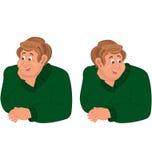 Happy cartoon man torso in green sweater Royalty Free Stock Photos