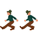 Happy cartoon man walking in green hat Royalty Free Stock Images