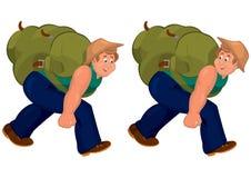 Happy cartoon man walking with heavy backpack Stock Photography