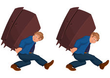 Happy cartoon man walking with heavy furniture Stock Images