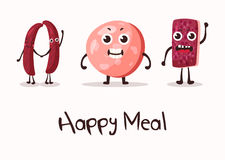 Happy cartoon meat character with hands. Smiley faces on sausage or kielbasa, beef and wurst, frankfurt meat sausage. May be used for steakhouse banner or meat Stock Photos