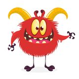 Happy cartoon monster with big horns and tiny legs. Clipart vector illustration