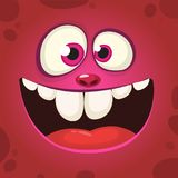Happy cartoon monster face with a big smile. Vector Halloween pink monster illustration.  vector illustration