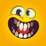 Happy cartoon monster face. Vector Halloween excited orange monster with  big mouth smile. Happy cartoon monster face. Vector Halloween excited orange monster Royalty Free Stock Image