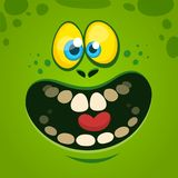 Happy cartoon monster face. Vector Halloween illustration of green excited monster.  Stock Images
