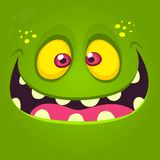 Happy cartoon monster face. Vector Halloween illustration of green excited monster or zombie stock illustration